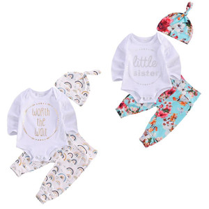 FOCUSNORM Newborn Baby Girls Boys Clothes Sets 3pcs Letter Print Long Sleeve Romper Tops Floral Pants Hats 0-12M