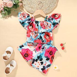 Girls Flower Breces Top + Pants Set Estate 2021 Bambini Abbigliamento Boutique 1-5T Little Girls Senza Maniche 2 PC Set Moda