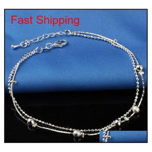 New 925 Sterling Sliver Ankle Bracelet For Women Foot Jewelry Inlaid Zircon Anklets Bracelet On A Leg jlltPQ bdesybag
