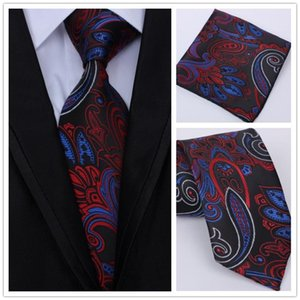 New Fashion Men Hot Selling Paisley Tie Hanky Sets Men's Silk Ties for Formal Wedding Party
