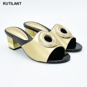 African Shoes Decorated with Rhinestone Nigerian Women Party Pumps High Heels Italian Style Slingbacks African Women Slippers