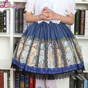 Vintage Style Short Lolita Skirt Mucha's Horae Goddess Printed Lolita Daily Short Skirt Z1122