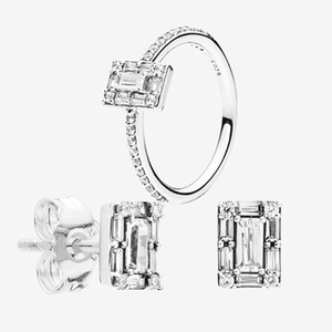 CZ Diamond Ring & Earring set Wedding Jewelry 925 Silver for Pandora Sparkling Square Halo Stud Earrings Rings with Original box for Women