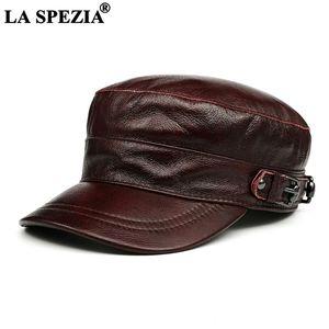 La Spezia мужчины зимняя шляпа натуральная кожа пурпурная красная шляпа коскин мужские моряки бренда бренда XL