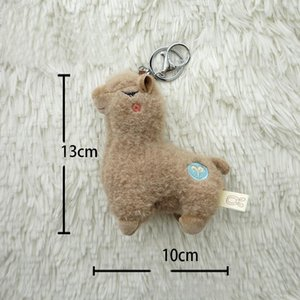 Soft Cotton Standing Alpaca Toys Stuffed Plush Doll Key Chain Rainbow Horse Camel Animals Keychains Women Bags Charms Gifts sqcpcD