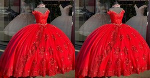 Gorgeous Red Off Shoulder Flowers Quinceanera Prom dresses 2021 with Short Sleeves Applique Evening Formal Gowns Sweet 16 Vestidos De Dress