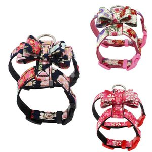 New Brand Japanese Style Printed Pet Chest Strap Fabric Bow knot Dog Chest Strap Pink M