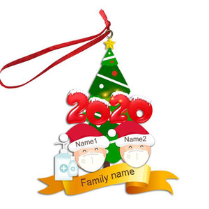 Quarantine Family Face Mask of 2 3 4 5 6 Christmas Ornament INS Personalized Christmas Tree Pendents Xmas Party Decoration Gifts GGE1803