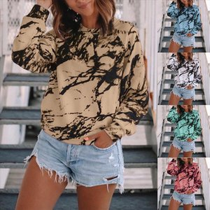 Womens Casual Loose Shirts O neck Tie dye Printed Long Sleeve Tops Basic Pullover Autumn Elegant Spring Summer Ruffles Blouse