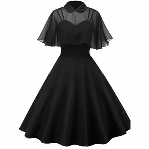 Women Vintage Gothic Cape Black Dress 2020 Autumn Two Piece Mesh Cloak Sleeves Peter Pan Collar Elegant Retro Goth Party Dresses