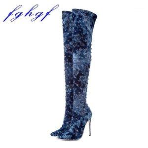 FGHGF 2020 12 cm altura del talón, cabeza puntiaguda, sexy botas de vaquero sobre la rodilla, tamaño: US 5-10.51