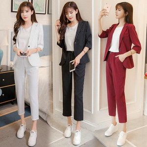 Work Fashion Pant Suits 2 Piece Set for Women Double Breasted Striped Blazer Jacket & Trouser Office Lady Suit Feminino 2020