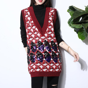 Fashion Flower Jacquard Embroidered Sequin Sweater Dress Women V Neck Sleeveless Long Casual Vest Spring Knitted Sweater Jumper1