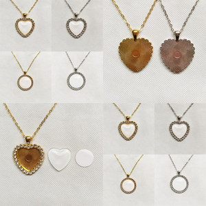 Crystal Sublimation Blanks Collares DIY Imprimible Pendientes en blanco Circular Amor Hearm Charm Accesorios de Moda Mujeres Valentines Regalo 9RB N2