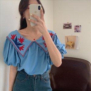Retro Floral Embroidery Blouses 2020 New Summer Korean Elegant Doll Collar Shirt Women Lapel Puff Sleeve Loose Tops