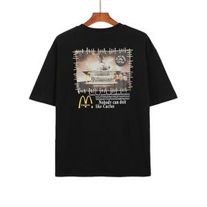 2021 봄 여름 뜨거운 패스트 푸드 아무도 간식 바 공동 작업 티 스케이트 보드 망 셔츠 여성 거리 캐주얼 티셔츠