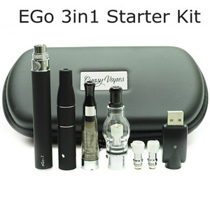 3in1 Vaporizer Atomizer eGo Dry herb Wax Tank Starter Kits 3 in 1 Oil Vape Pen Zipper Case e cigs