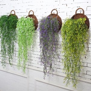 Parede Montada Osier Rattans Plásticos Plástico Wicke Bracketplant Videira Falsa Verdura para Flores decorativas artificiais em casa1