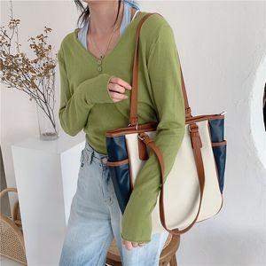 Contrast Color Female Daily Casual Tote Bolsa Feminina Fashion PU Leather Women Handbags Large Capacity Ladies Shoulder Bags FJVV