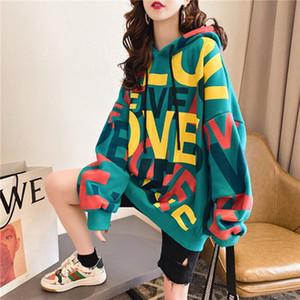 Qrwr Korean Women Hoodie Sweatshirts 2020 Winter Casual Fleece Oversized Loose Letter Printing Thicken Hoodies for Girls