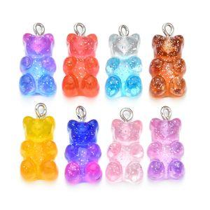 100 pcs Cute gummy urso pingente encantos para colar bracelete brincos jóias DIY achados resina ursos presente 2.1 * 1.1cm