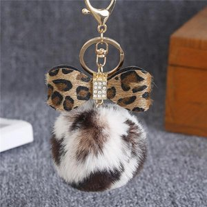 Kawaii Bow Leopard Fur Ball Plush Keychain Animal Bag Pendant Key Ring Holder Handbag Charm For Boys Girls Multicolor wmtXgJ infant2005