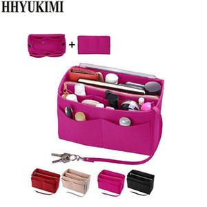 Makyaj organizatör el çantası için ekleme çantası, fermuar ile keçe çanta, seyahat iç çanta, fit kozmetik çantalar çeşitli marka çanta