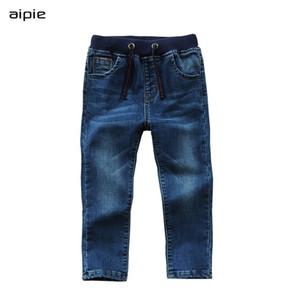 À venda Jeans Menino Casual Algodão Sólido 100% Denim Children's Calças de Jeans para 3-14 Anos Primavera / Outono Wear 201209