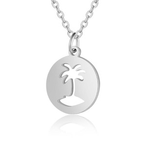 Fnixtar Top Quality 100% Stainless Steel Round Coconut Tree Charm Necklace for Women Necklace Fashion Jewelry Birthday Gift