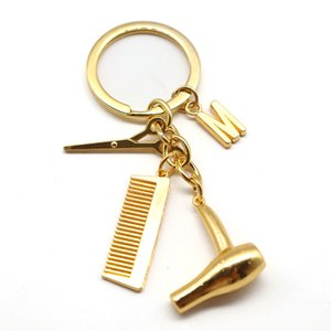 Barber Shop Tools keychain Фен ROW BEAL SCISSOR Клавиатура Креативные Ключ БИЛФОБА СТИЛЬНЫЕ Ювелирные Изделия 26 Письма Ключ Цепной Подарок
