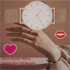 Relojes de muñeca de oro rosa de 32 mm Relojes magnéticos para mujer MUFF Pulsera reloj para reloj Relogio Feminino