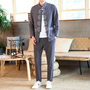 Outono Novo Linho China Moda Marca Juvenil Handsome Oversized Revestimento Solto Duas Peça Terno Para Homens