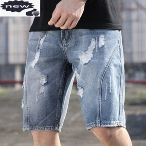 Vintage Denim Shorts Men Loose Casual Straight Knee-Length Pants Hole Ripped Washed Light Blue Short Jeans Plus Size 28-42