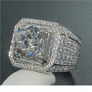 K New Fashion Mens Wedding Rings Jewelry High Quality Womens Gemstone Engagement Rings Simulated Diamond Silver Rings