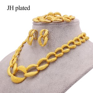 Dubai 24K gold color jewelry sets for women luxury necklace earrings bracelet ring India African wedding ornament wife gifts Z1201