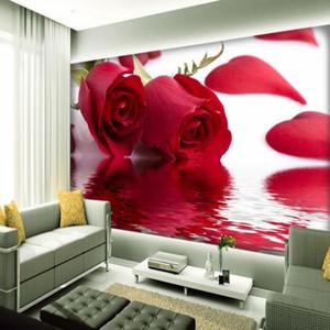 Dropship Photo Wallpaper Rose Reflection Stereo TV Bedroom Decorative Background Wallpaper Custom Home Improvement