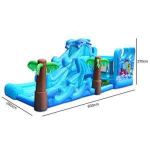 Blue Large Dolphin Water Slide Family Use Giant Waterslides Inflatable Water Slide for Summer Tropical Rainforest Water Park with Bouncer