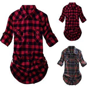 Womens and Blouses Tartan Plaid Flannel Shirts Roll Up Sleeve Casual Tops Button Down Blouse Blusas Mujer De Moda 2019#a20
