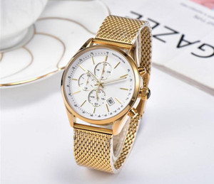 mens automatic big watches classic style 42mm Top quality mens watches All pointer work functional chronograph quartz watch