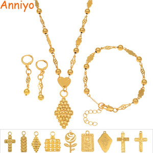 Anniyo Rose Cross Pendant Ball Beads Necklaces Bracelet Earrings Jewelry Set Gold Color Hawaii Micronesia Marshall Guam #164906 Z1201