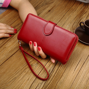 Hot Sale Oil Wax Leather Wallet Retro Oil Leather Mobile Phone Bag Long Zipper Coin Bag Women's Card Holder Bill Holder Free shipping