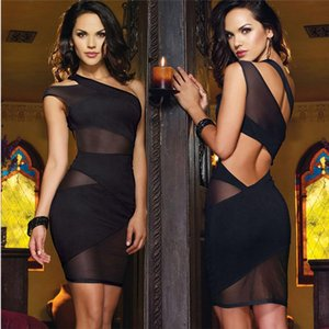 Fashion Womens Summer Sexy Sleeveless Plunge Bodycon Dress Ladies Evening Party Mini Pencil Dress Plus Size