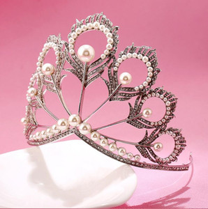 New Sale Miss Universe Pageant Crown Rhinestones Pearls Feather Shape Unique Designer Full Circle Round Bridal Crown and Tiaras Women