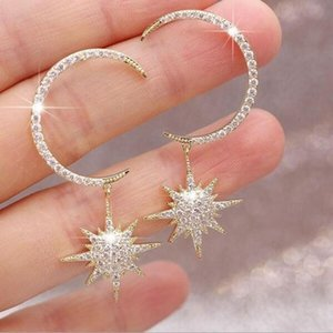 New Arrival Fashion Jewelry 925 Silver&Rose Gold Fill Pave White Clear Cubic Zirconia Moon Star Earring Women Dangle Earring