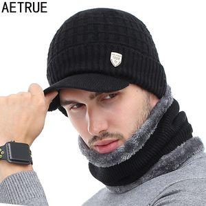 AETRUE Skullies Hats Winter Beanies For Men Women Wool Scarf Caps Balaclava Mask Gorras Bonnet Knitted Hat