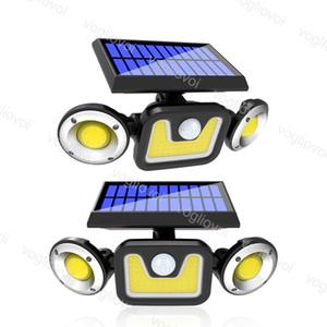 Solar Security Lights Bewegungssensor Drei Kopf 78LED 78LED 83COB Solarplatten Power Wasserdicht für Outdoor Garden Wall Street DHL