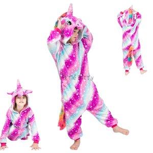 Çocuklar için Çocuk Pijama Erkek Kız Onesie Çocuklar Hayvan Gökkuşağı Unicorn Pijama Çocuk Pijamas Kış Çocuk Pijama Panda Pajamas Y200704