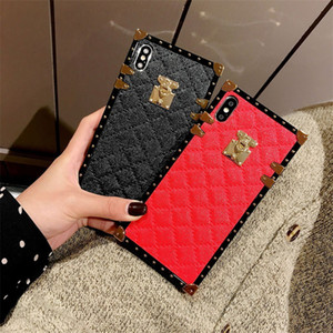 Luxury Square Plating Lattice Vintage Leather Back Cover for iPhone 12 11 Pro Max XR XS 6s 8 Plus Samsung S20 Note20 Ultra