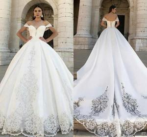 Off Shoulder A Line Wedding Dresses Modest Satin 2021 Lace Beads Boho Garden Bridal Gowns Formal Arabic Sweep Train Vestidos De Novia AL7761
