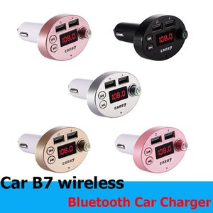 Multifunction CAR B7 Bluetooth Transmitter 3.1A Dual USB Car charger FM MP3 Player Car Kit Support TF Card Handsfree + retail box Cheapest
